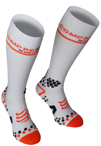 COMPRESSPORT Socks 3D V2.1FULL(WH-RD)(45-47)4M
